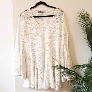 Free People   Beach Crochet Bell Sleeve Dress